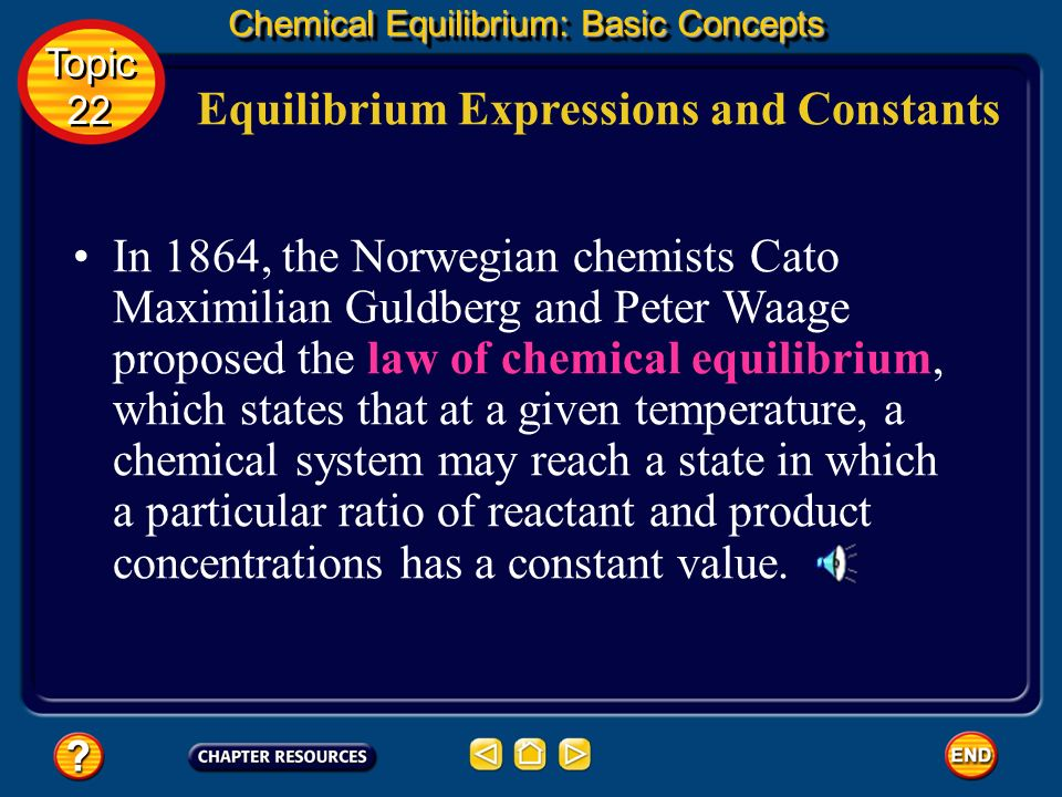 Equilibrium Expressions and Constants Chemical Equilibrium: Basic Concepts According to the equation for the ammonia- producing reaction, two moles of
