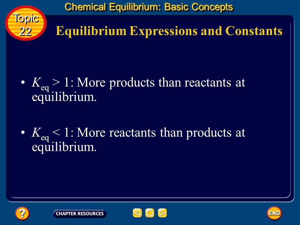 Equilibrium Expressions and Constants Chemical Equilibrium: Basic Concepts Topic 22 Topic 22 The equilibrium constant, K eq, is the numerical value of