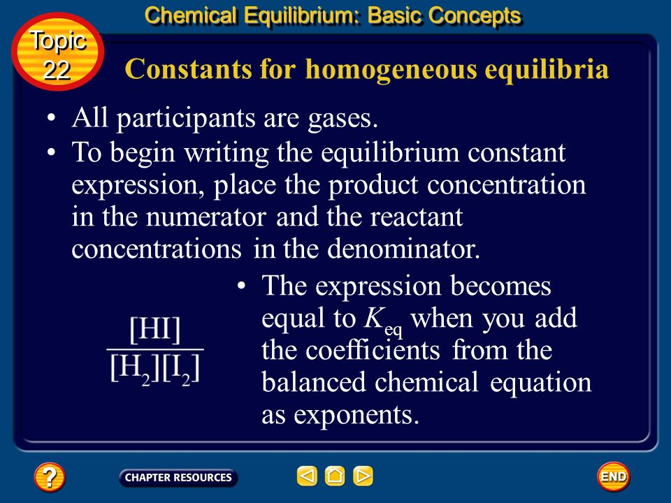 Constants for homogeneous equilibria Chemical Equilibrium: Basic Concepts Topic 22 Topic 22 How would you write the equilibrium constant expression fo
