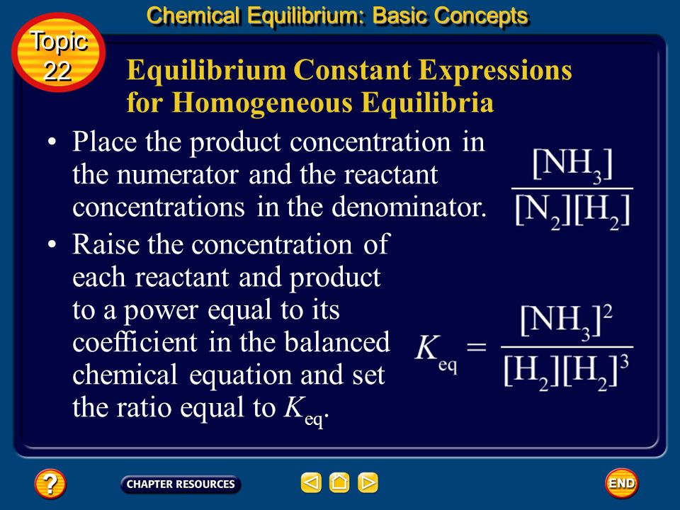 Equilibrium Constant Expressions for Homogeneous Equilibria Chemical Equilibrium: Basic Concepts Topic 22 Topic 22