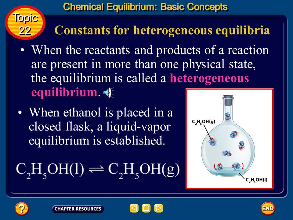 Equilibrium Constant Expressions for Homogeneous Equilibria Chemical Equilibrium: Basic Concepts Topic 22 Topic 22 Place the product concentration in