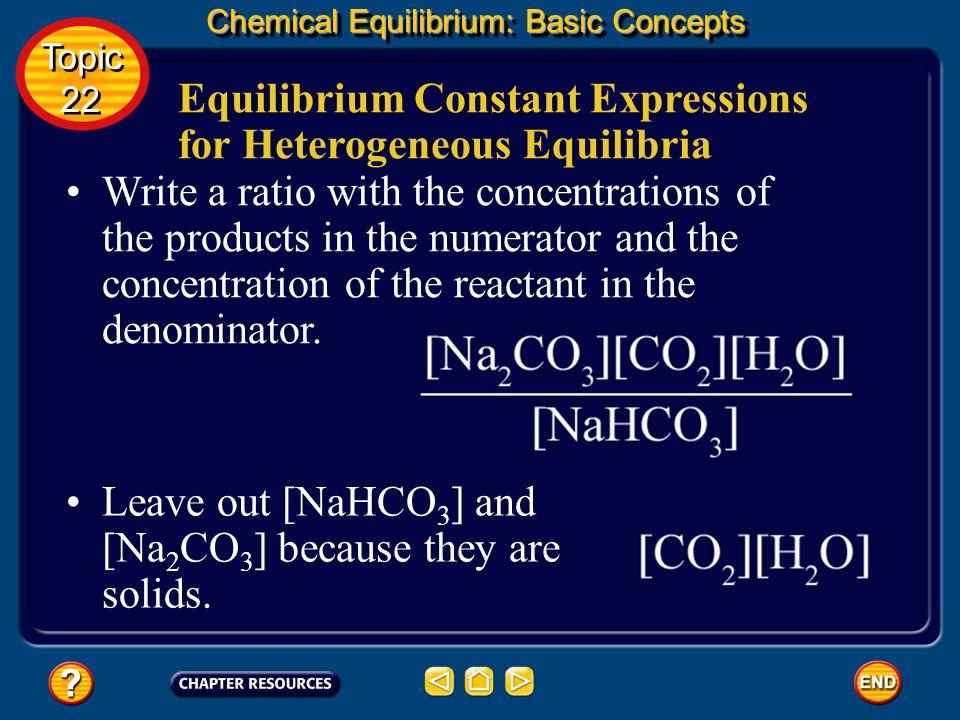 Equilibrium Constant Expressions for Heterogeneous Equilibria Chemical Equilibrium: Basic Concepts Topic 22 Topic 22 Known Unknown equilibrium constan