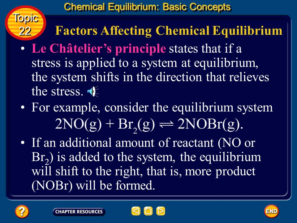 Calculating the Value of Equilibrium Constants Chemical Equilibrium: Basic Concepts Topic 22 Topic 22 Substitute the known values into the equilibrium