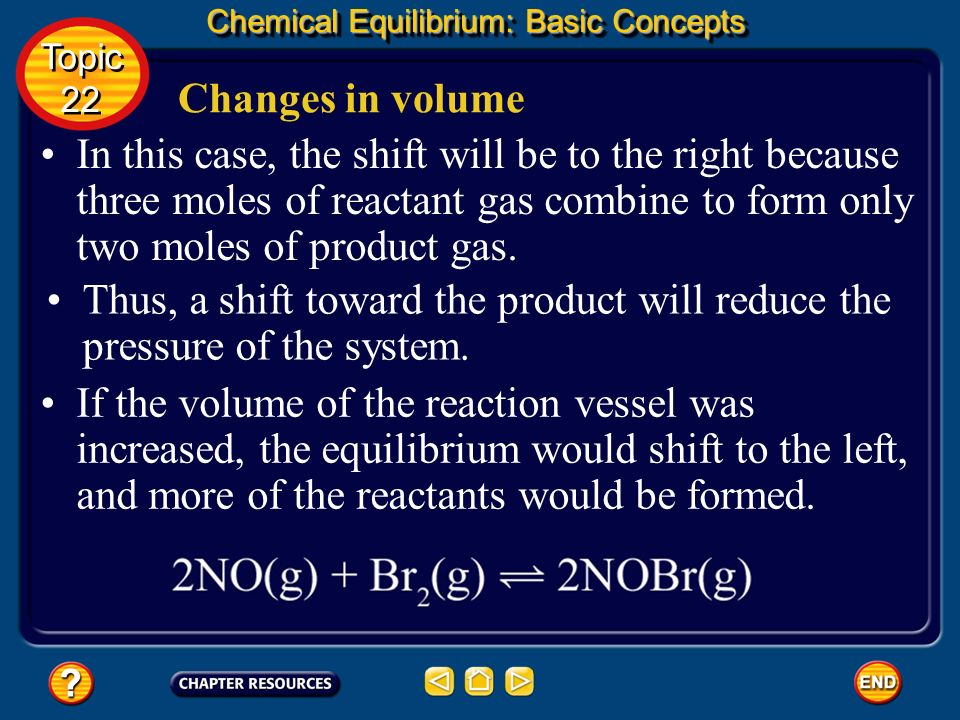 Changes in volume Chemical Equilibrium: Basic Concepts Topic 22 Topic 22 Le Châteliers principle also applies to changes in the volume of the reaction