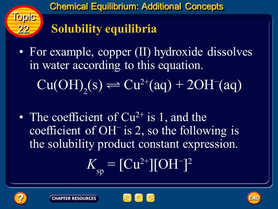 Chemical Equilibrium: Additional Concepts Solubility equilibria Topic 22 Topic 22 The solubility product constant expression is the product of the con