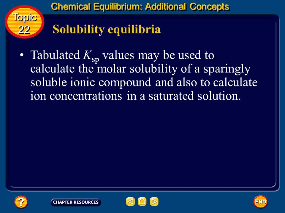 Chemical Equilibrium: Additional Concepts Solubility equilibria For example, copper (II) hydroxide dissolves in water according to this equation. The