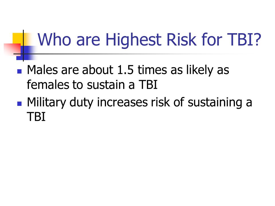 Who are Highest Risk for TBI? Males are about 1.5 times as likely as females to sustain a TBI Military duty increases risk of sustaining a TBI