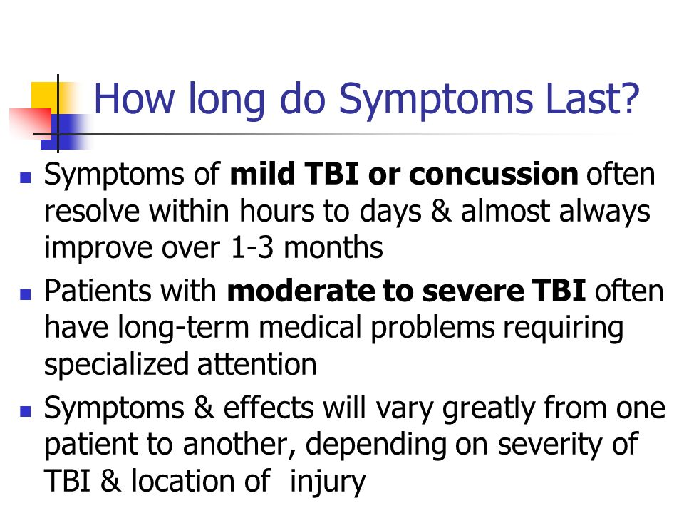 How long do Symptoms Last? Symptoms of mild TBI or concussion often resolve within hours to days & almost always improve over 1-3 months Patients with
