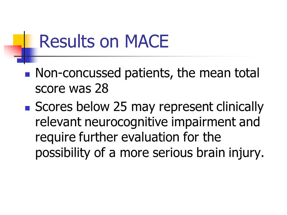 Results on MACE Non-concussed patients, the mean total score was 28 Scores below 25 may represent clinically relevant neurocognitive impairment and re