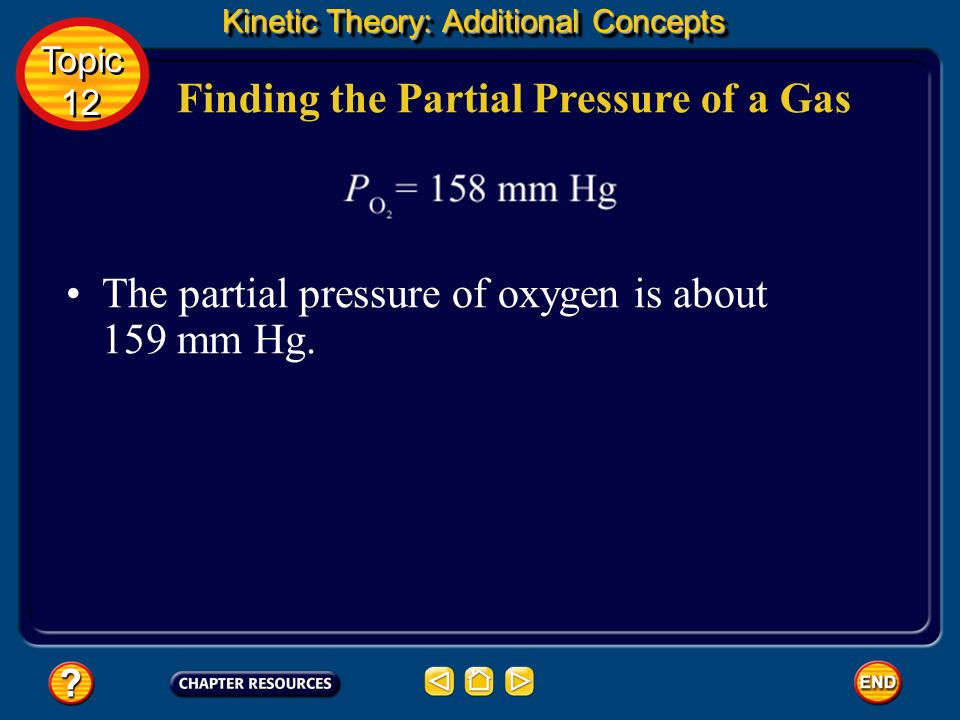 Finding the Partial Pressure of a Gas Use Daltons law of partial pressures to solve the problem. Kinetic Theory: Additional Concepts Topic 12 Topic 12