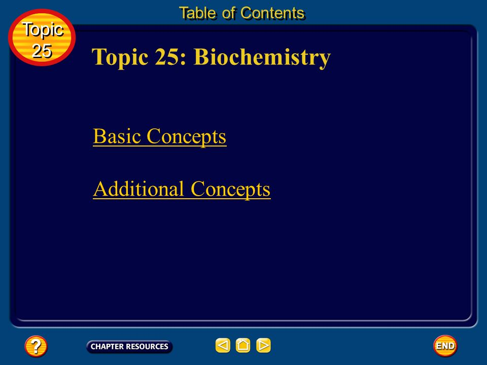 Topic 25: Biochemistry Table of Contents Topic 25 Topic 25 Basic Concepts Additional Concepts
