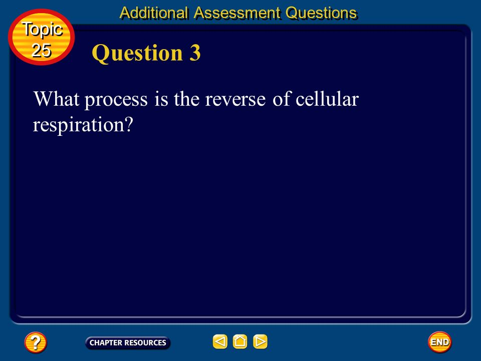 Additional Assessment Questions releases energy for life processes Answer Topic 25 Topic 25