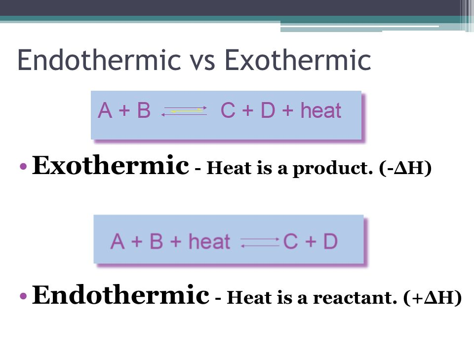 Endothermic vs Exothermic Exothermic - Heat is a product. (-ΔH) Endothermic - Heat is a reactant. (+ΔH)