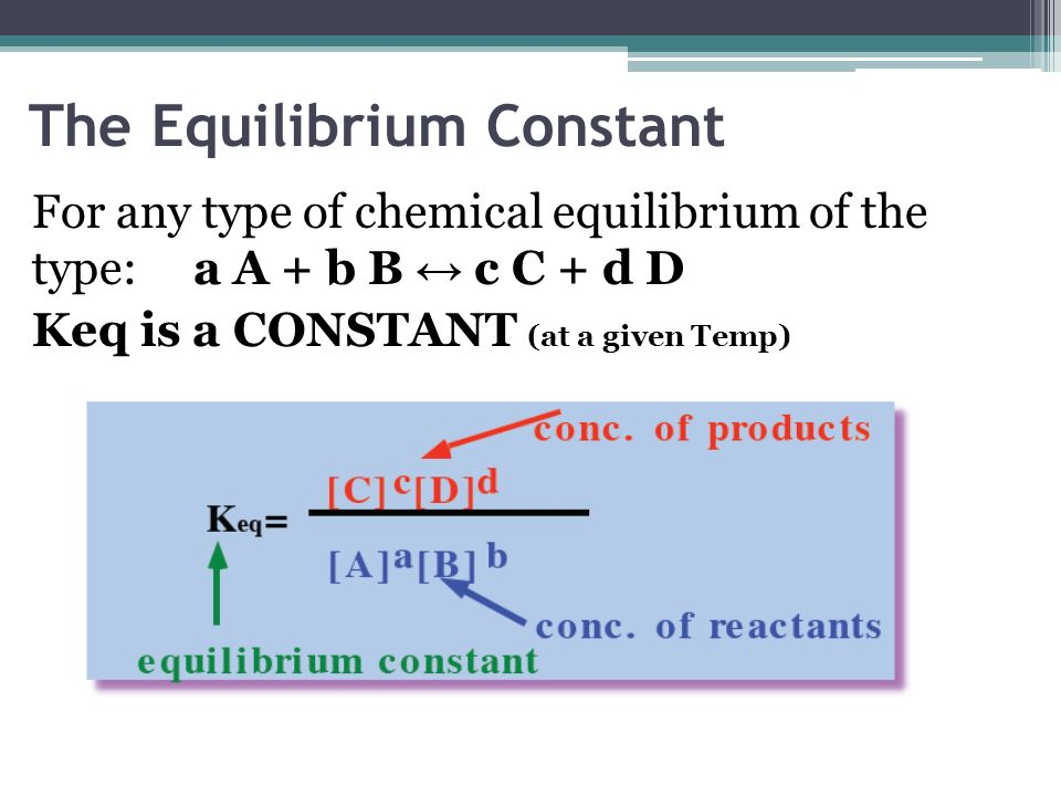 The Equilibrium Constant For any type of chemical equilibrium of the type: a A + b B c C + d D Keq is a CONSTANT (at a given Temp)