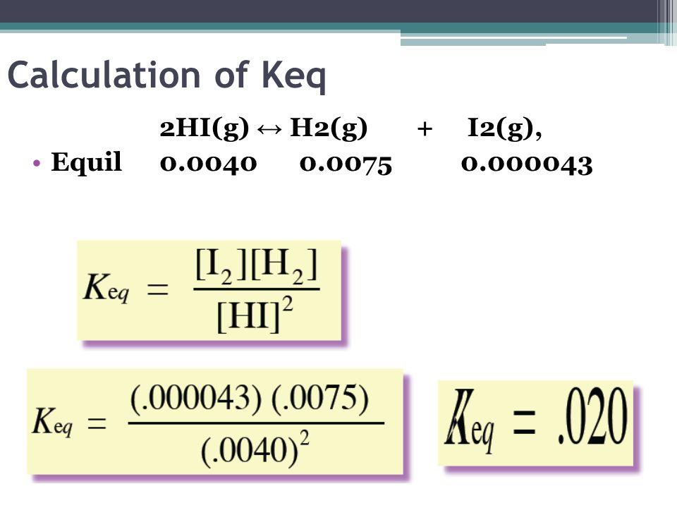 Calculation of Keq 2HI(g) H2(g) + I2(g), Equil 0.0040 0.0075 0.000043