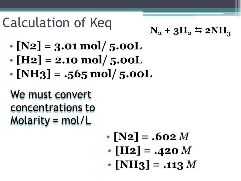 Calculation of Keq [N2] = 3.01 mol/ 5.00L [H2] = 2.10 mol/ 5.00L [NH3] =.565 mol/ 5.00L [N2] =.602 M [H2] =.420 M [NH3] =.113 M N 2 + 3H 2 2NH 3