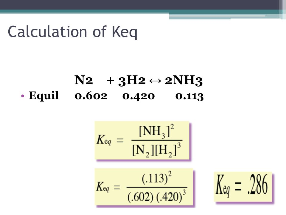 Calculation of Keq N2 + 3H2 2NH3 Equil 0.602 0.420 0.113