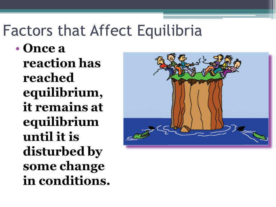 Factors that Affect Equilibria Once a reaction has reached equilibrium, it remains at equilibrium until it is disturbed by some change in conditions.