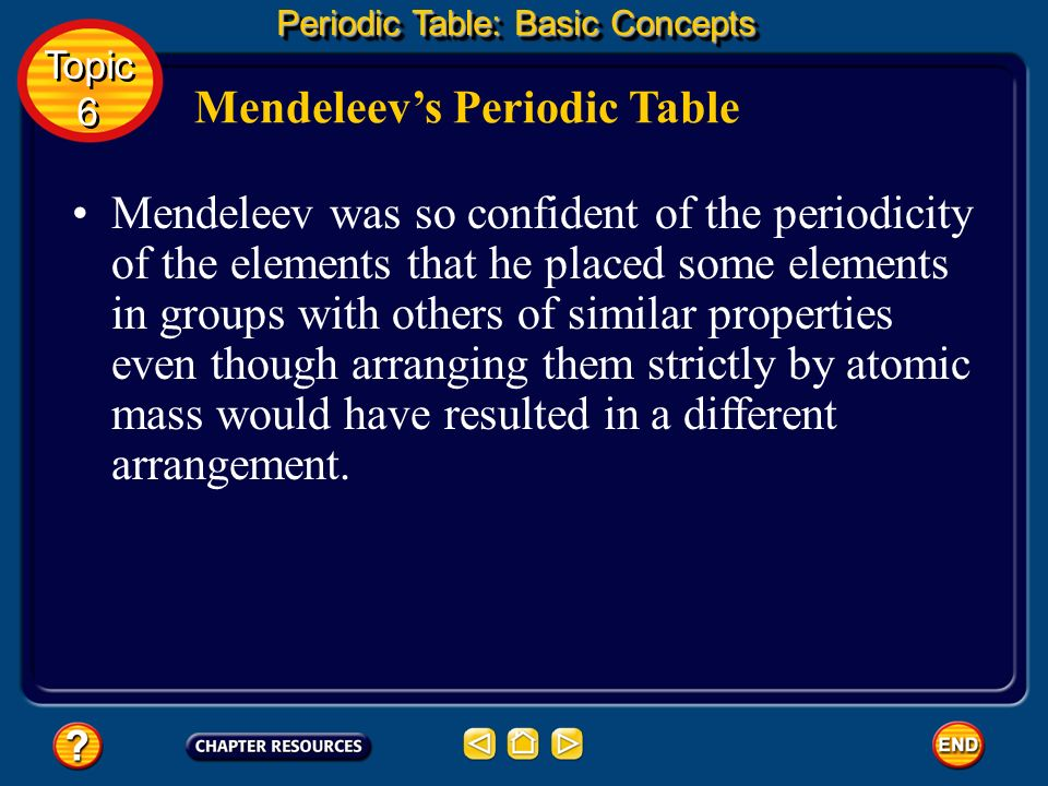 One of the tests of a scientific theory is the ability to use it to make successful predictions. Mendeleevs Periodic Table Mendeleev correctly predict