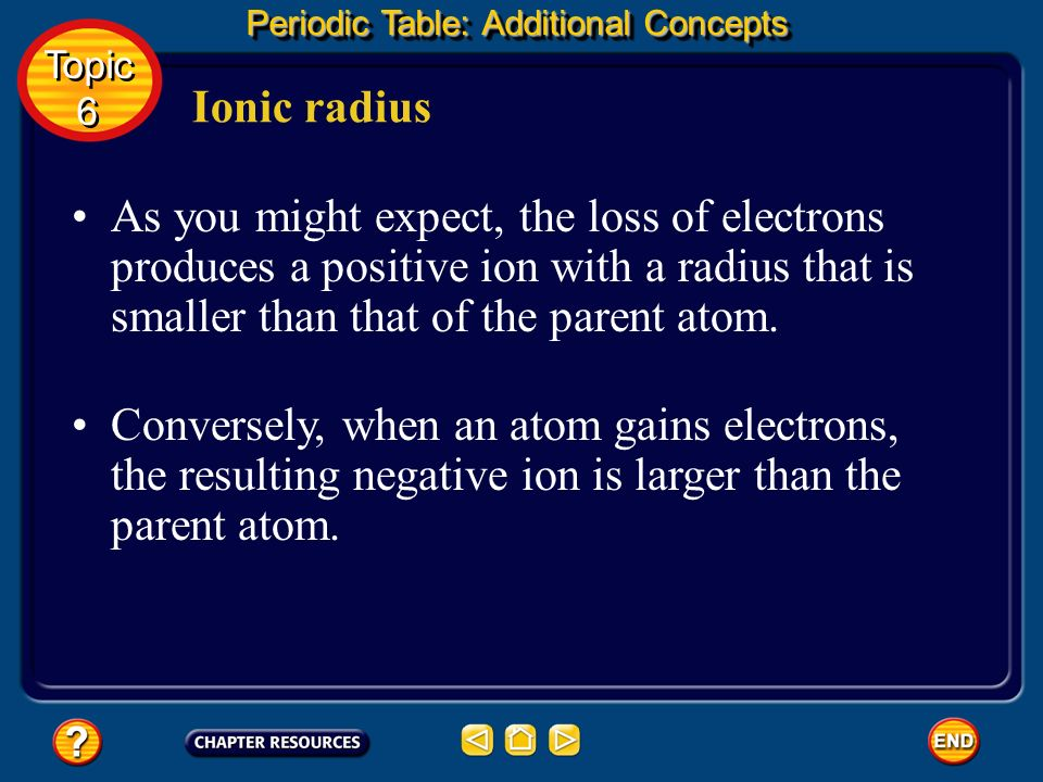 Ionic radius When an atom gains or loses one or more electrons, it becomes an ion. Because an electron has a negative charge, gaining electrons produc
