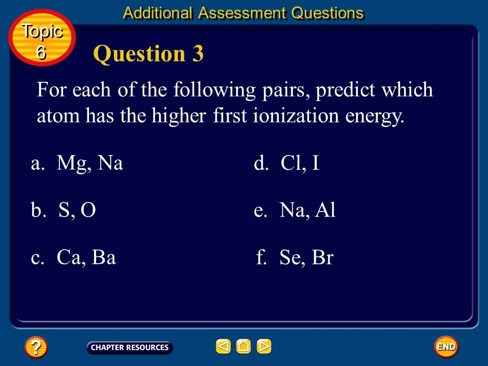 Answers a. Mg, Mg 2+ b. S, S 2– c. Ca 2+, Ba 2+ d. Cl –, I – Mg S 2– Ba 2+ I–I– e. Na +, Al 3+ Na + Topic 6 Topic 6 Additional Assessment Questions