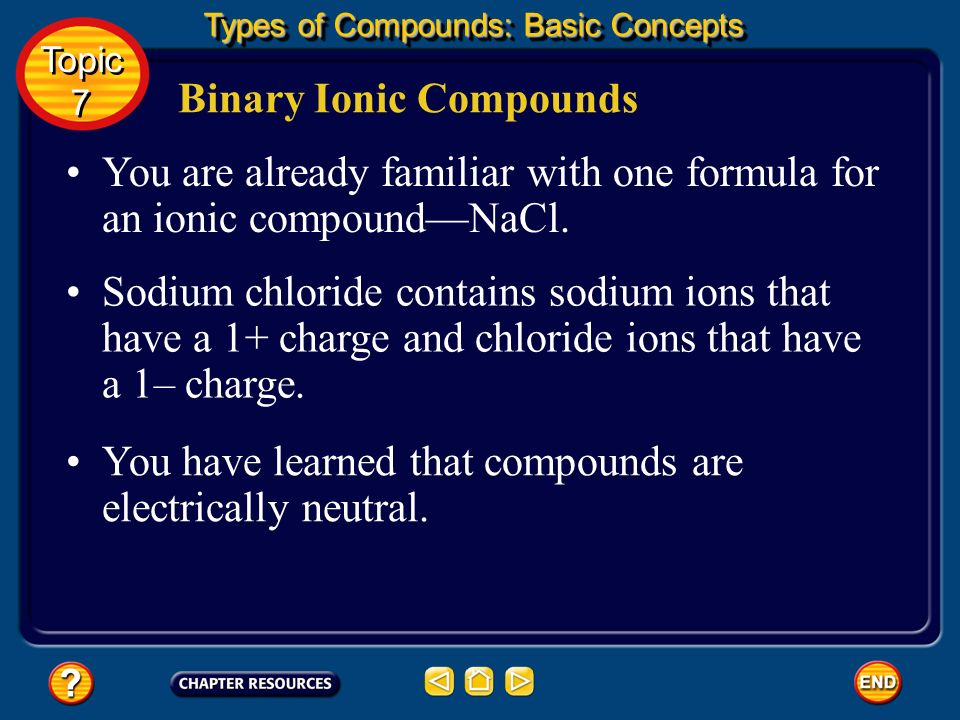 Binary Ionic Compounds To name a binary ionic compound, first write the name of the positively charged ion, usually a metal, and then add the name of