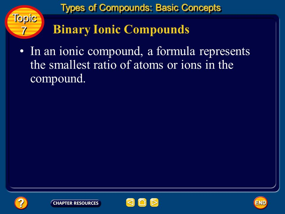 Binary Ionic Compounds If more than one ion of a given element is present in a compound, the subscript indicates how many ions are present.