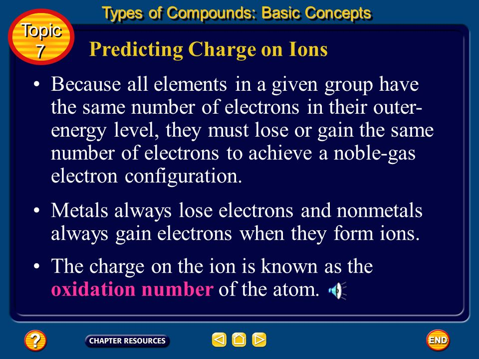 Predicting Charge on Ions Most nonmetals, on the other hand, have outer-energy levels that contain four to seven electrons, so they tend to gain elect