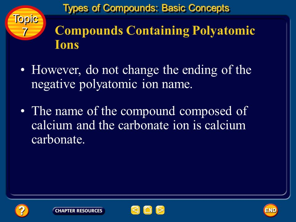 To name a compound containing a polyatomic ion, follow the same rules as used in naming binary compounds.