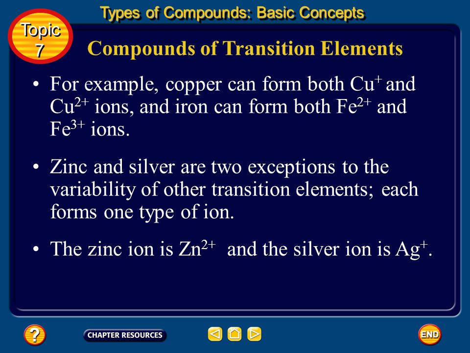 Compounds of Transition Elements Transition elements form positive ions just as other metals do, but most transition elements can form more than one t