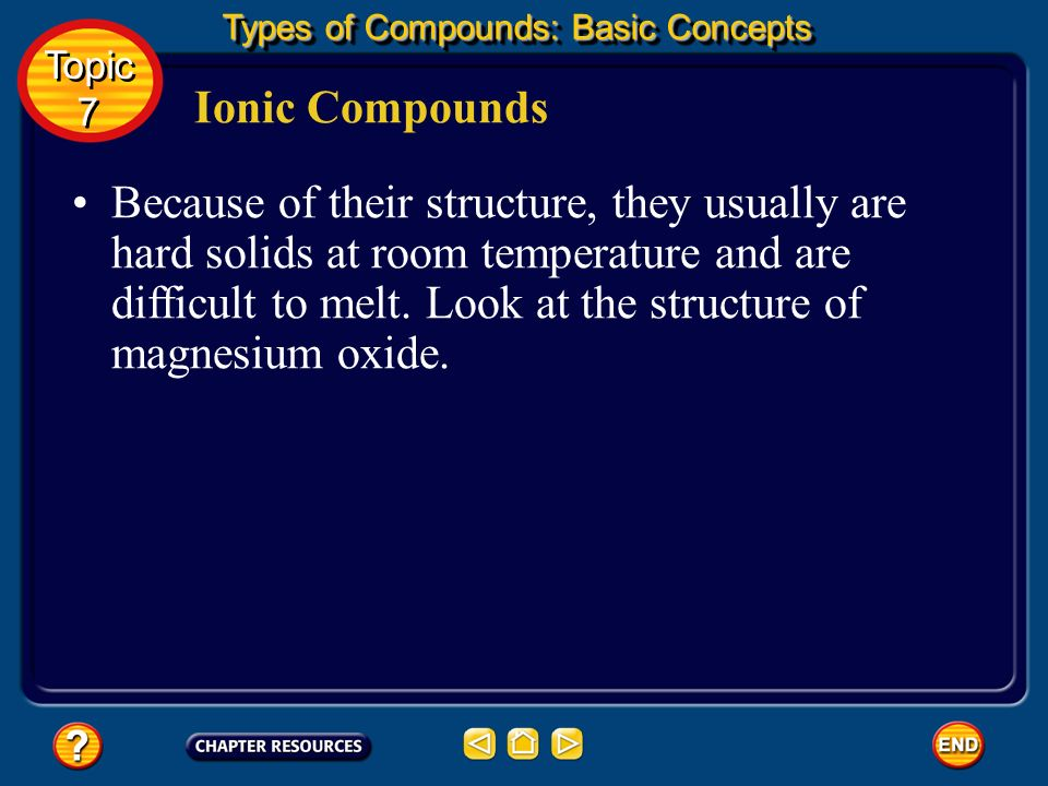 The submicroscopic structure of ionic compounds helps explain why they share certain macroscopic properties such as high melting points, brittleness, and the ability to conduct electricity when molten or when dissolved in water.
