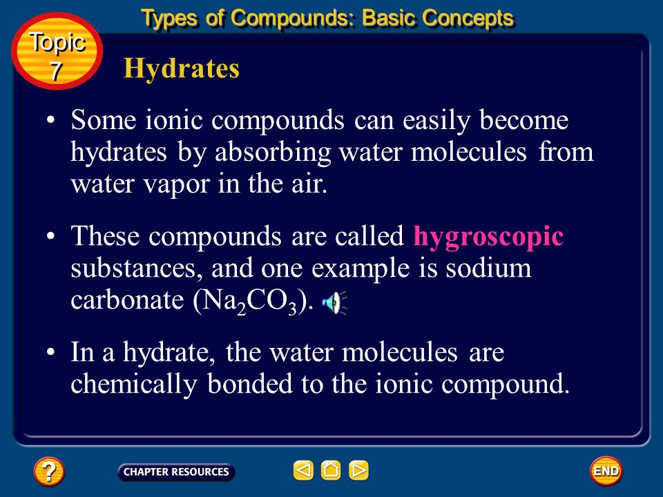 Hydrates A compound in which there is a specific ratio of water to ionic compound is called a hydrate. Many ionic compounds are prepared by crystalliz