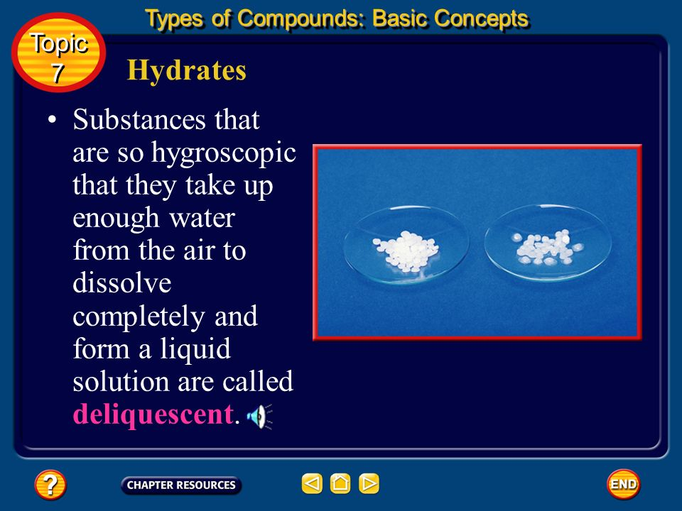 Hydrates These compounds are called hygroscopic substances, and one example is sodium carbonate (Na 2 CO 3 ). Some ionic compounds can easily become h