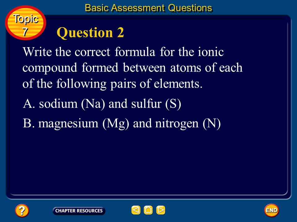 Basic Assessment Questions Answers A. aluminum (Al) and fluorine (F) B. lithium (Li) and oxygen (O) one AL for every three F two Li for every O Topic