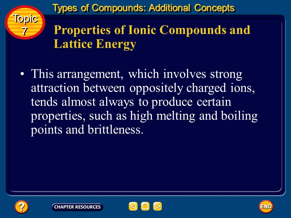 Properties of Ionic Compounds and Lattice Energy In a solid ionic compound, the positive ions are surrounded by negative ions, and the negative ions b