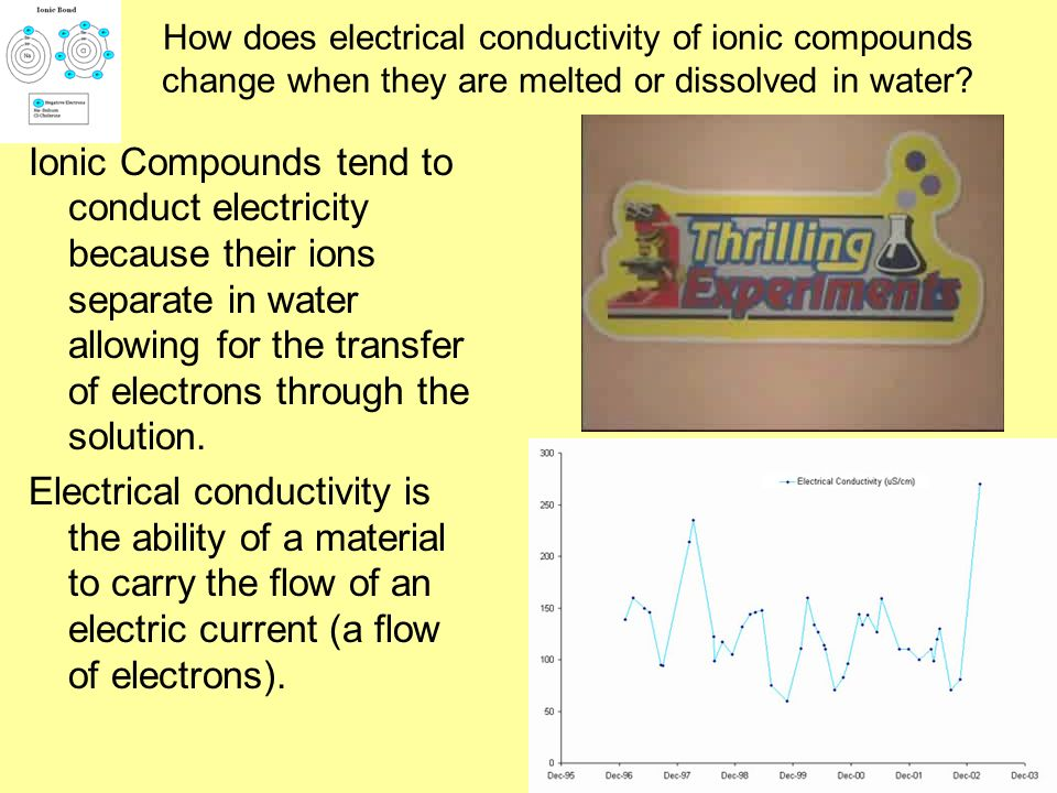 What characteristics do ionic compounds share? A crystal structure when solid (lattice) A high melting point -many strong bonds to overcome between th