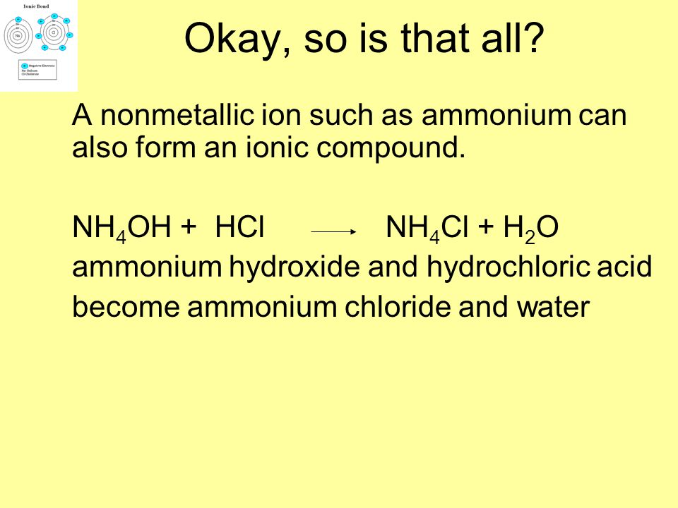 Okay, so is that all? An acid will also react with a hydroxide compound of a metallic ion and hydroxide (OH) ion to form an ionic compound and water.
