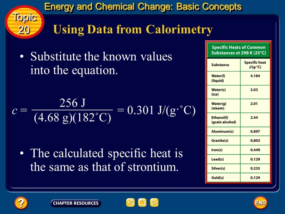 Using Data from Calorimetry Energy and Chemical Change: Basic Concepts Energy and Chemical Change: Basic Concepts Topic 20 Topic 20 Solve for c by div