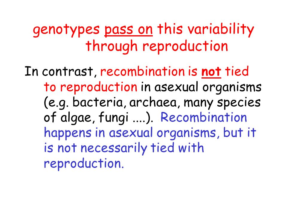 In sexually reproducing organisms (eg.