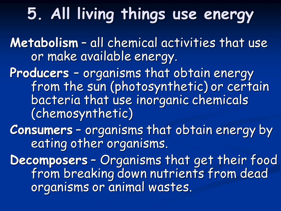 5. All living things use energy Metabolism – all chemical activities that use or make available energy. Producers – organisms that obtain energy from