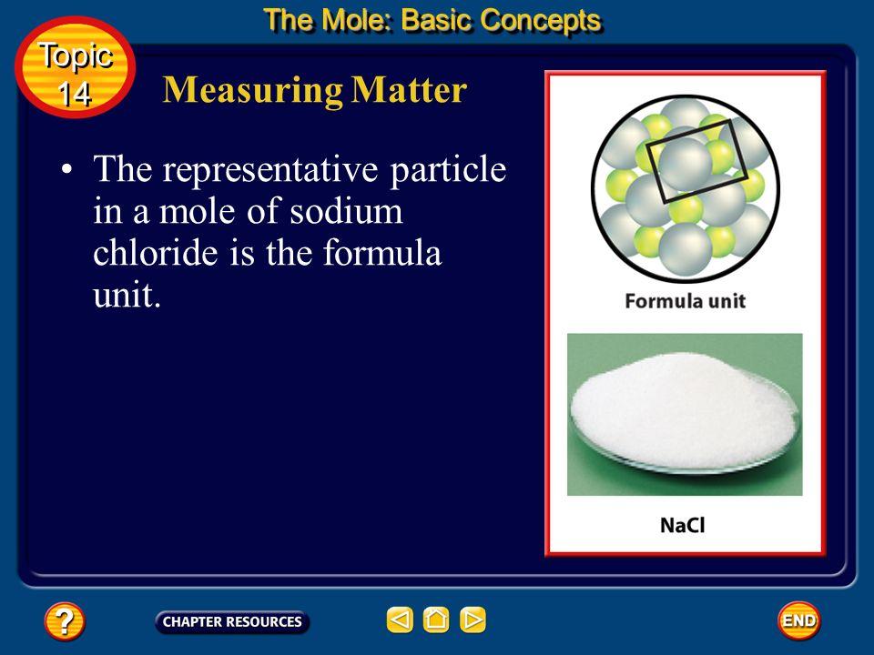 The representative particle in a mole of copper is the copper atom. Measuring Matter The Mole: Basic Concepts Topic 14 Topic 14
