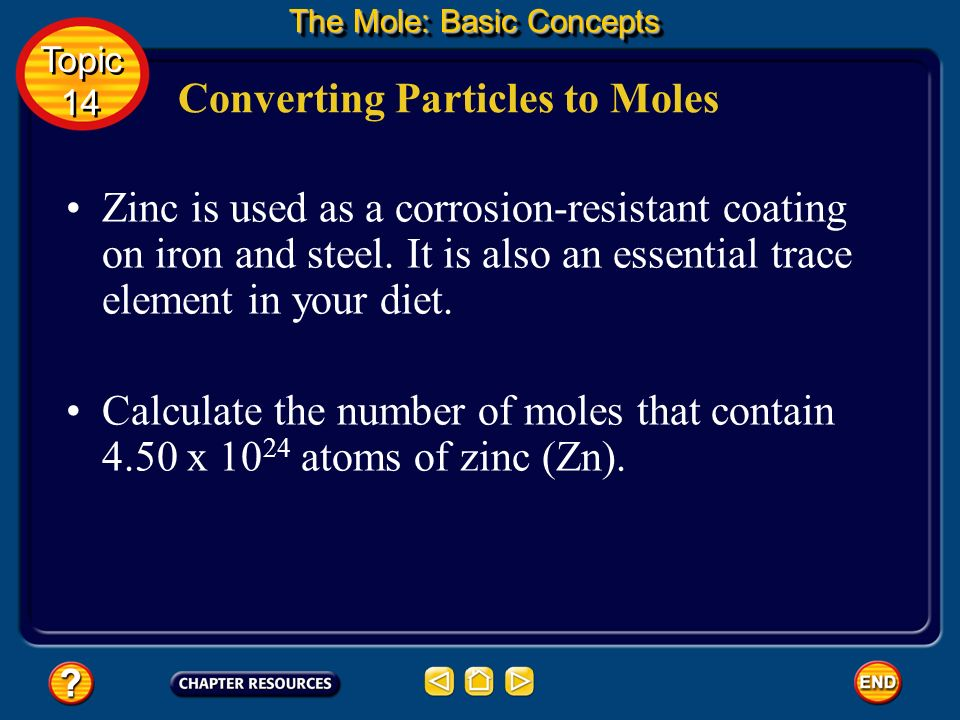 Now, suppose you want to find out how many moles are represented by a certain number of representative particles. Converting Particles to Moles You ca