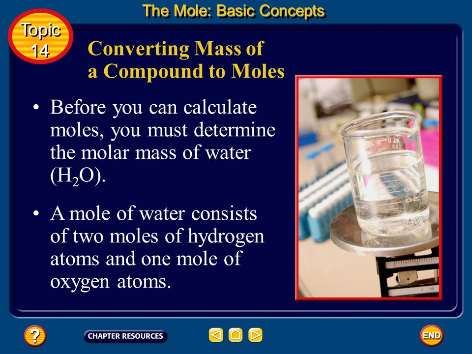 Converting Mass of a Compound to Moles At 4.0°C, water has a density of 1.000 g/mL. How many moles of water are in 1.000 kg of water (1.000 L at 4.0°C