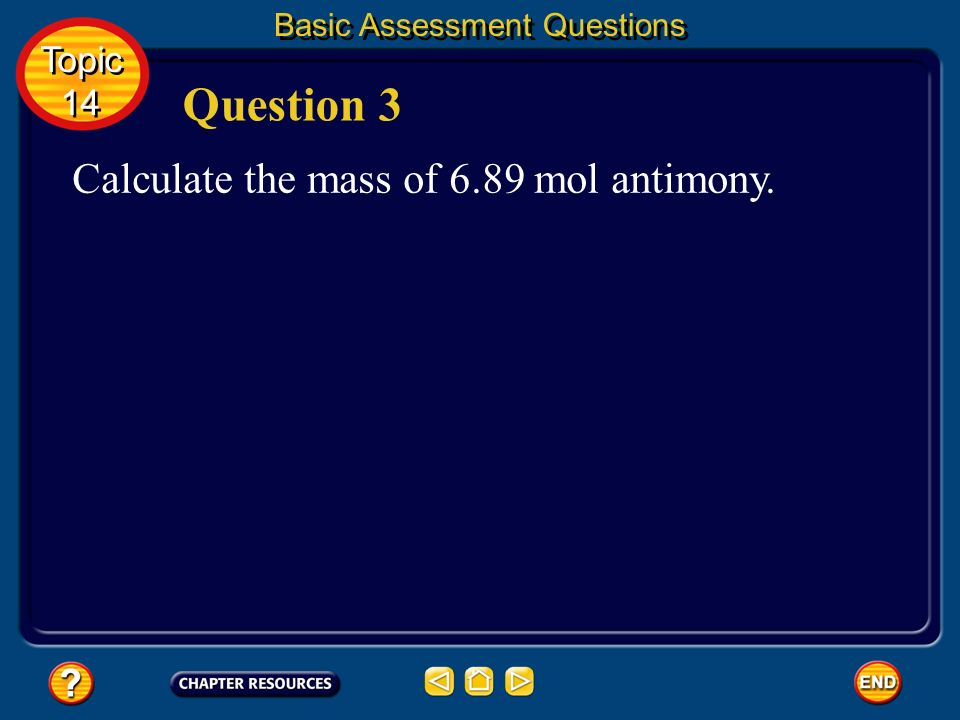 Basic Assessment Questions Answer 1.53 mol Fe Topic 14 Topic 14