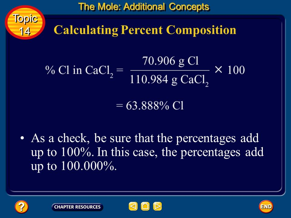 Calculating Percent Composition Finally, use the data to set up a calculation to determine the percent by mass of each element in the compound. The pe