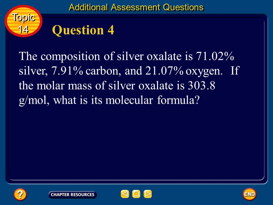 CH 2 O Answer Additional Assessment Questions Topic 14 Topic 14