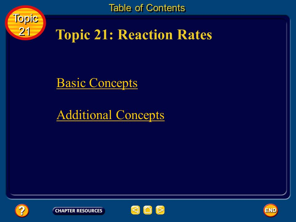 Topic 21: Reaction Rates Table of Contents Basic Concepts Additional Concepts Topic 21 Topic 21