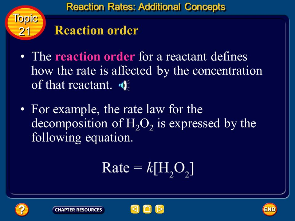 Reaction order In the expression Rate = k[A], it is understood that the notation [A] means the same as [A] 1. In other words, for reactant A, the unde