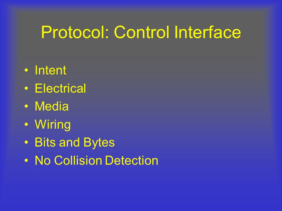 Protocol: Control Interface Intent Electrical Media Wiring Bits and Bytes No Collision Detection