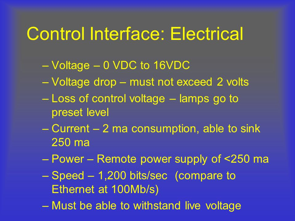 Control Interface: Electrical –Voltage – 0 VDC to 16VDC –Voltage drop – must not exceed 2 volts –Loss of control voltage – lamps go to preset level –C